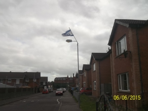 Israeli flag in Protestant neighborhood